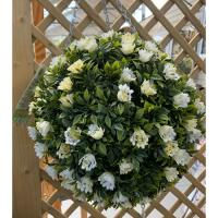 Topiary White Rose Ball 30cm